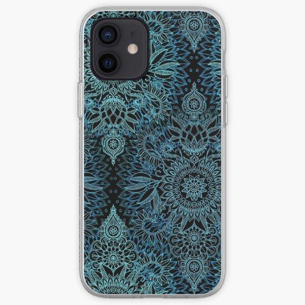 Black, Teal & Aqua Protea Doodle Pattern iPhone Soft Case