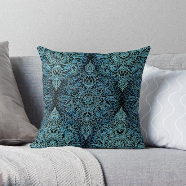 Black, Teal & Aqua Protea Doodle Pattern Throw Pillow