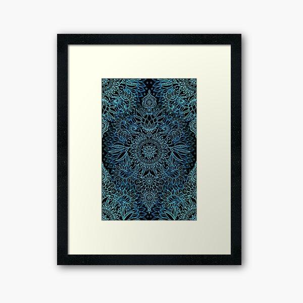 Black, Teal & Aqua Protea Doodle Pattern Framed Art Print