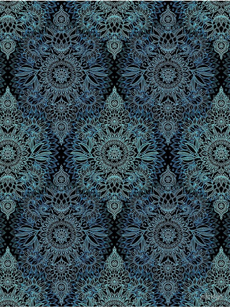 Schwarzes, aquamarines u. Aqua-Protea-Gekritzel-Muster von micklyn