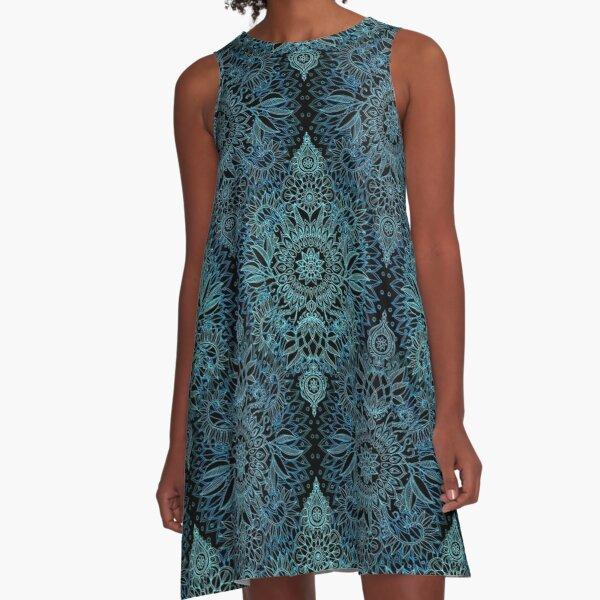 Black, Teal & Aqua Protea Doodle Pattern A-Line Dress