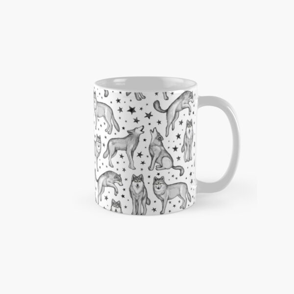 Wolves and Stars on White Classic Mug