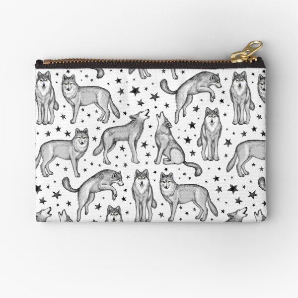 Wolves and Stars on White Zipper Pouch