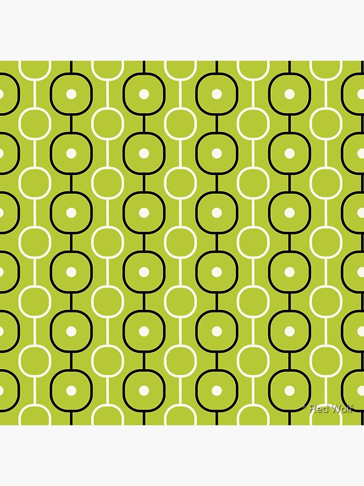 Geometric Pattern: Circle Chain: Lime/Black by redwolfoz