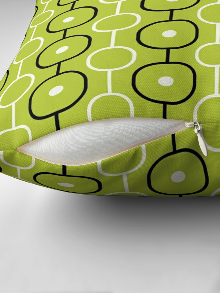 Alternate view of Geometric Pattern: Circle Chain: Lime/Black Throw Pillow