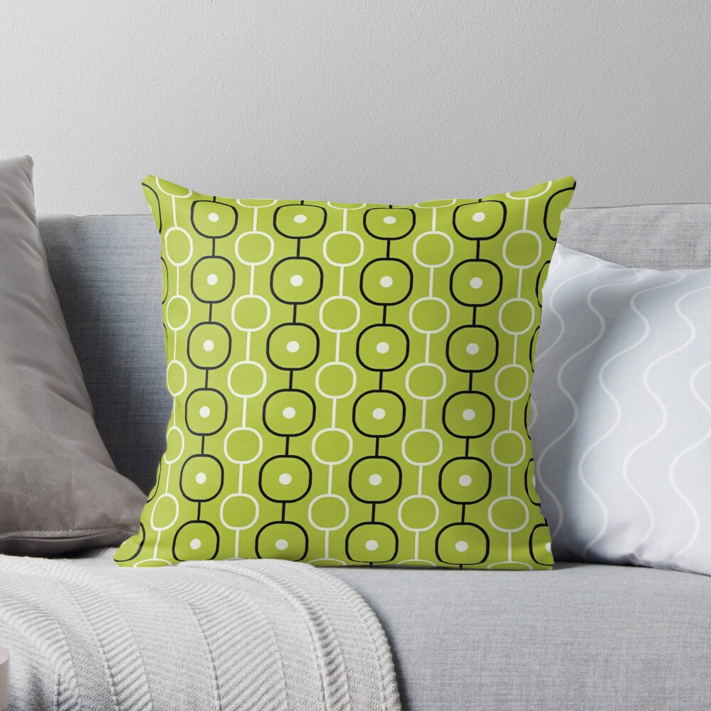 Geometric Pattern: Circle Chain: Lime/Black Throw Pillow