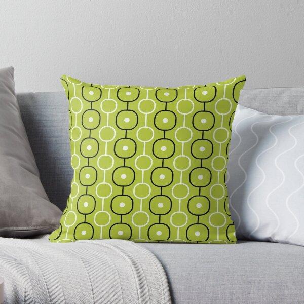 Geometric Pattern: Circle Chain: Lime/Black Throw Pillow