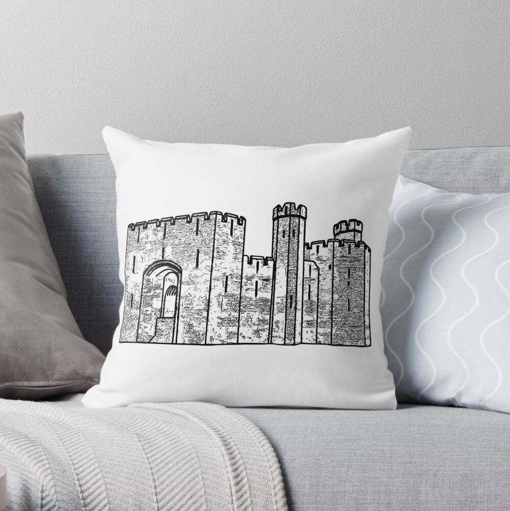 Caernarfon Castle Vector Throw Pillow