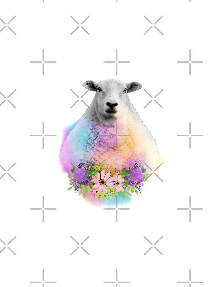 Watercolor Floral Sheep in Field by tribbledesign