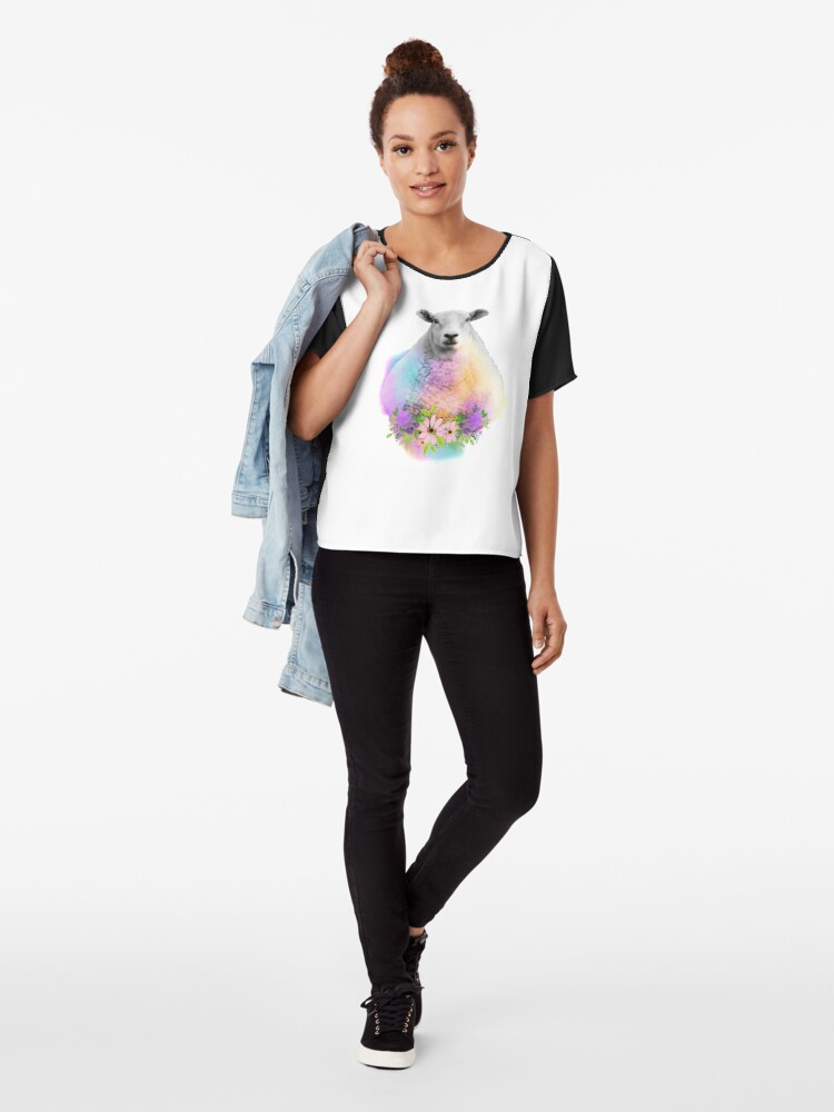 Alternate view of Watercolor Floral Sheep in Field Chiffon Top