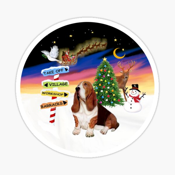 Christmas Signs with a Basset Hound Sticker