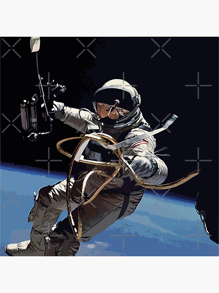Astronaut Ed White's Spacewalk Colour Vector Art by tribbledesign