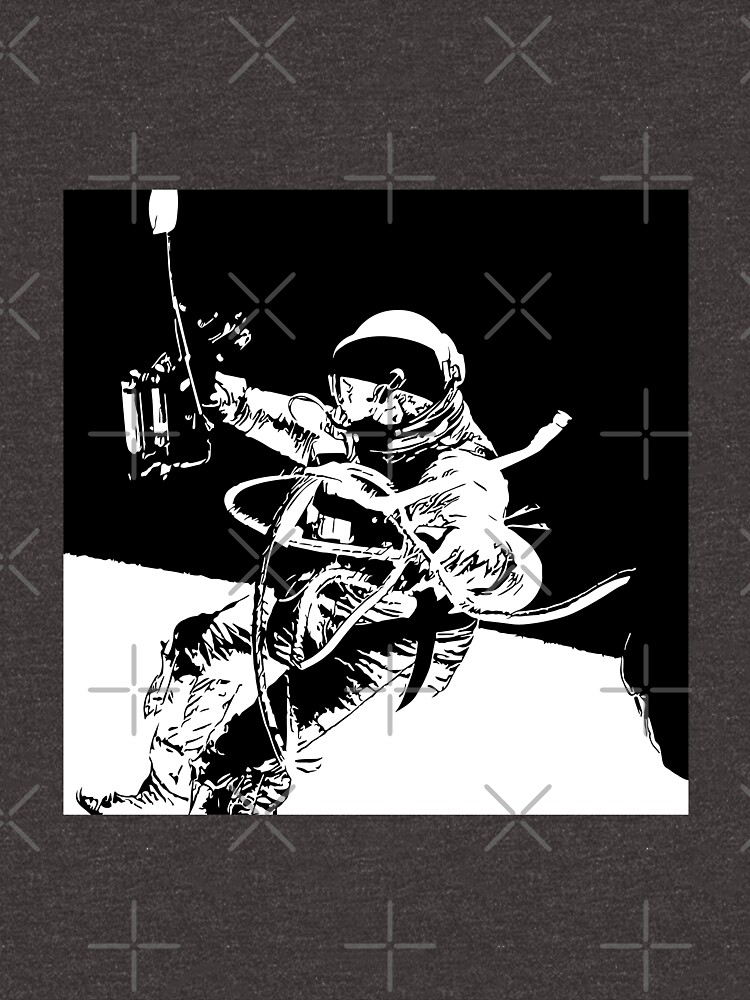 Black and White Vector Astronaut Ed White's Spacewalk by tribbledesign