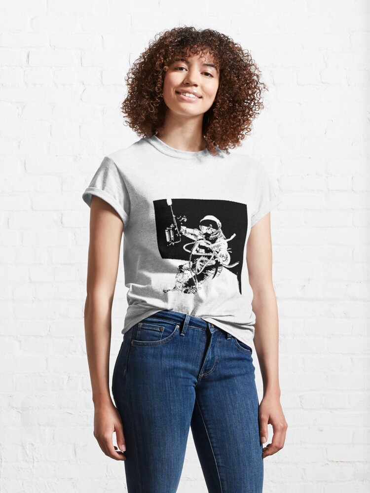 Alternate view of Black and White Vector Astronaut Ed White's Spacewalk Classic T-Shirt