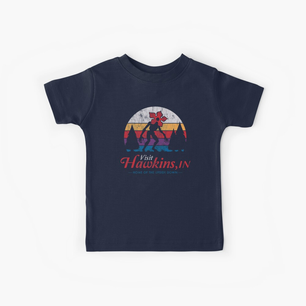 Visit Hawkins - Vintage Distressed - Demogorgon - Stranger Things Kids T-Shirt