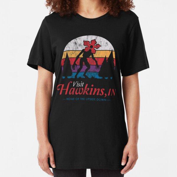 Visit Hawkins - Vintage Distressed - Demogorgon - Stranger Things Slim Fit T-Shirt