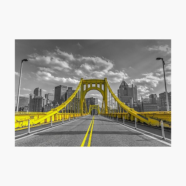 Roberto Clemente Bridge- Pittsburgh Skyline- Sky- Selective Coloring- Yellow- Grey- Pittsburgh Pictures- Pittsburgh Bridges-Pittsburgh Gifts Photographic Print