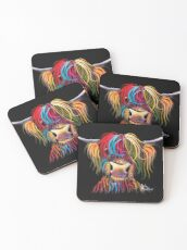 Scottish Hairy Highland Cow ' NELLY ' by Shirley MacArthur Coasters