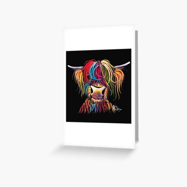 Scottish Hairy Highland Cow ' NELLY ' by Shirley MacArthur Greeting Card