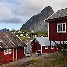 Red fisher cabins by Annbjørg  Næss