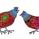 Chickens - red & blue by Vicky Stonebridge