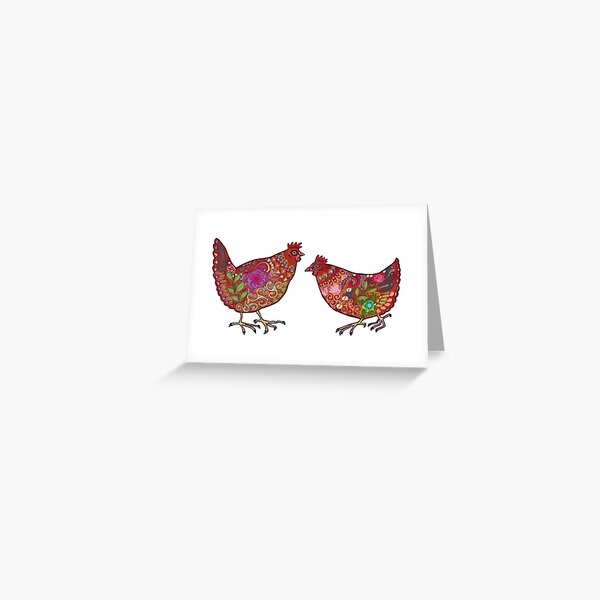 Red Chickens Greeting Card