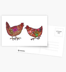 Red Chickens Postcards