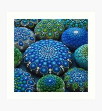 Cool Tone Mandala Stone Collection Art Print