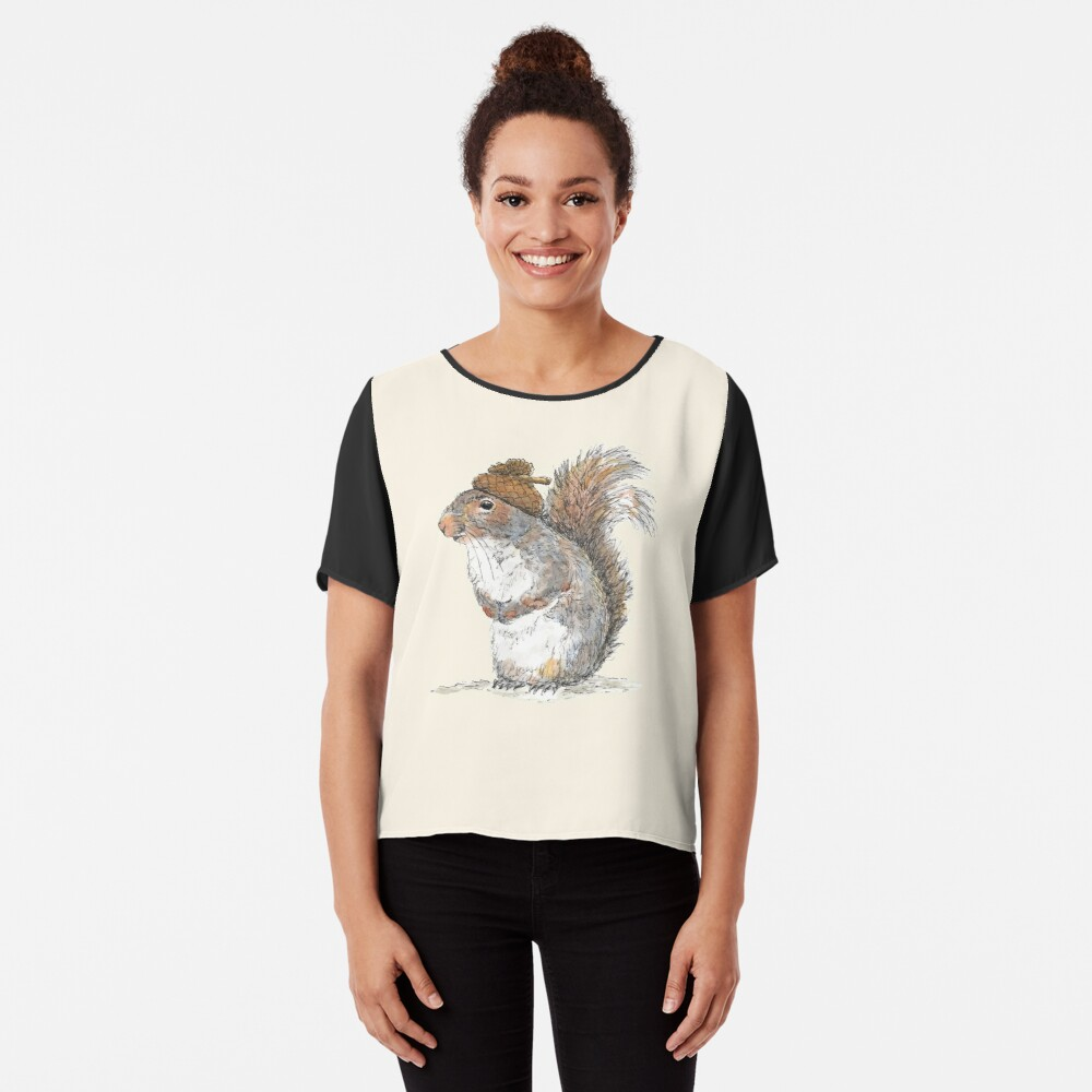 Squirrel with an Acorn Hat Chiffon Top