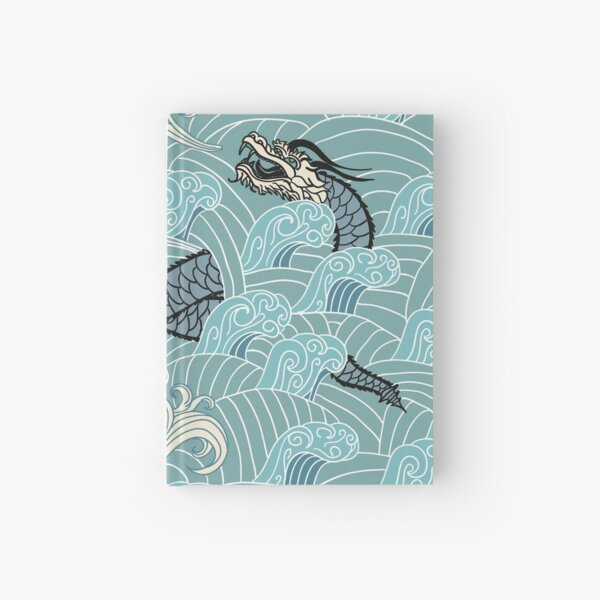 Japanese dragons in the ocean, Ryujin Hardcover Journal