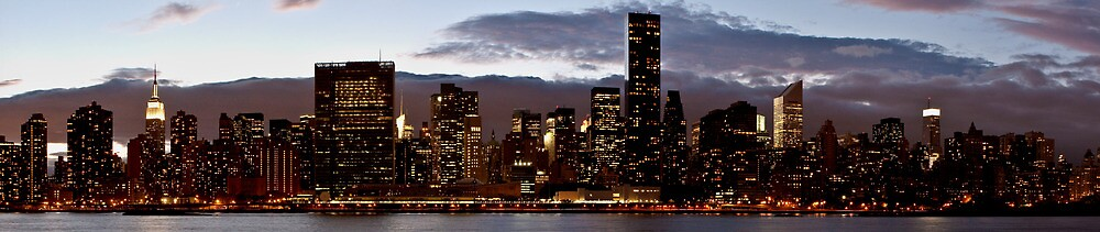 Manhattan Night Skyline by Dave Bledsoe