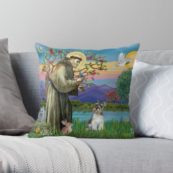 St. Francis Blesses a Schnauzer Throw Pillow
