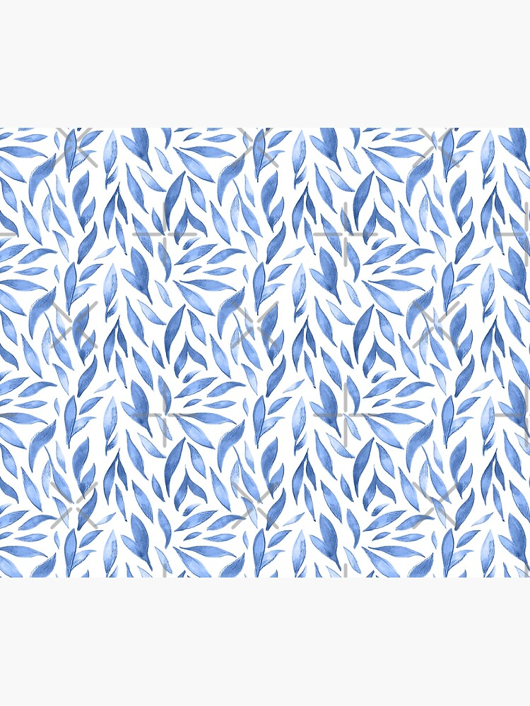 Watercolor Leaves - Blue by annieparsons