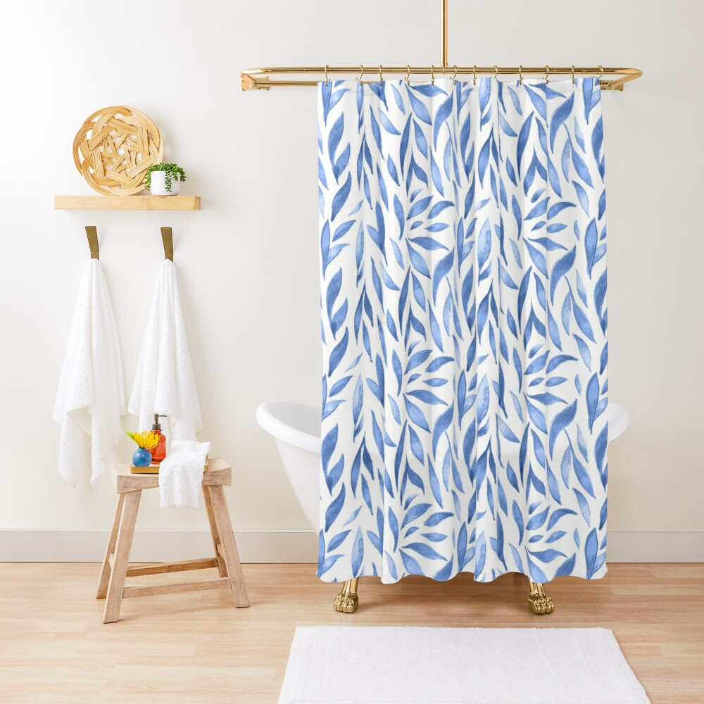 Watercolor Leaves - Blue Shower Curtain