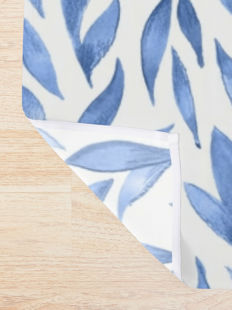 Alternate view of Watercolor Leaves - Blue Shower Curtain