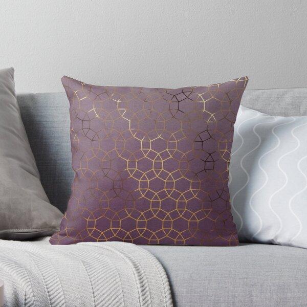 Gemma Gold Geometric - Plum Throw Pillow