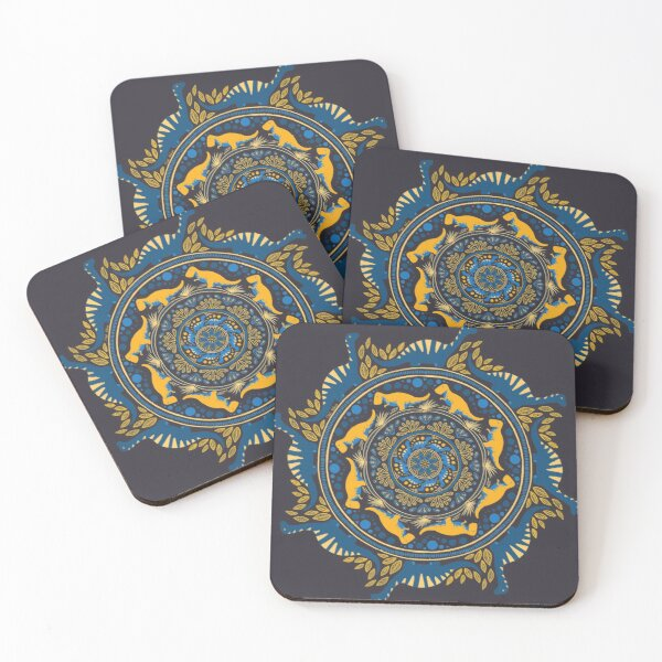 Dino-mandala 3 Coasters (Set of 4)
