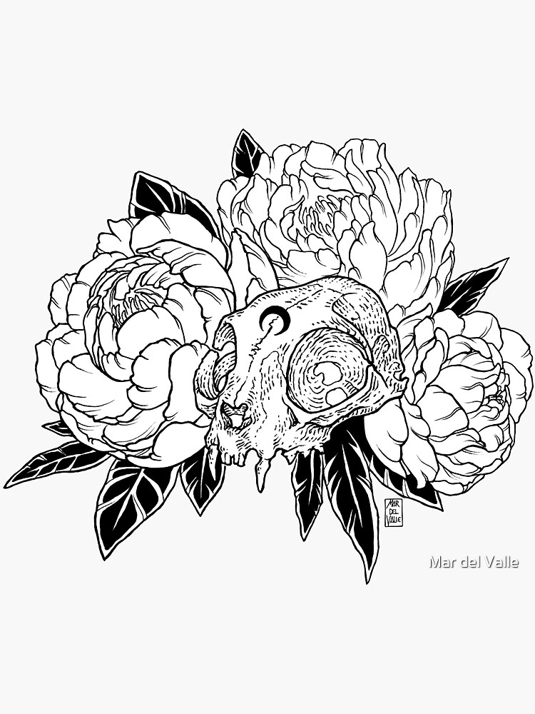 Cat Skull with Peonies - Black Line by mardelvallearts