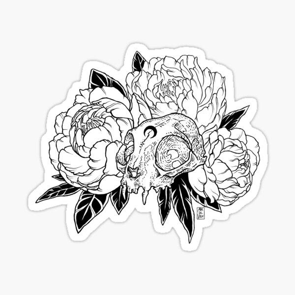 Cat Skull with Peonies - Black Line Sticker