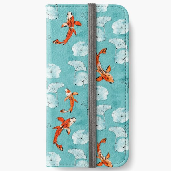 Waterlily koi in turquoise iPhone Wallet