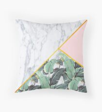 Marmor / Bananenblätter / Pink Dekokissen