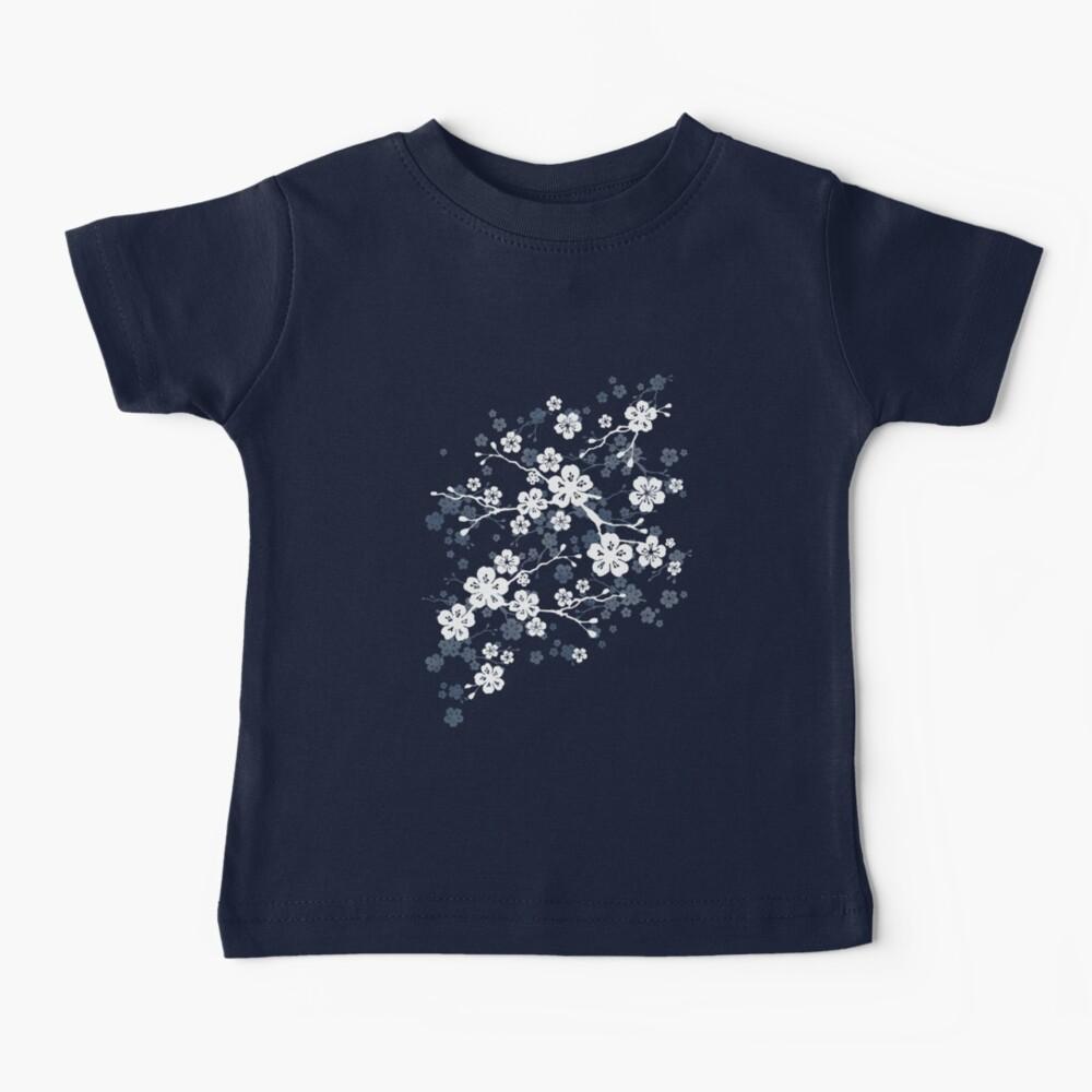 Navy and white cherry blossom pattern Baby T-Shirt