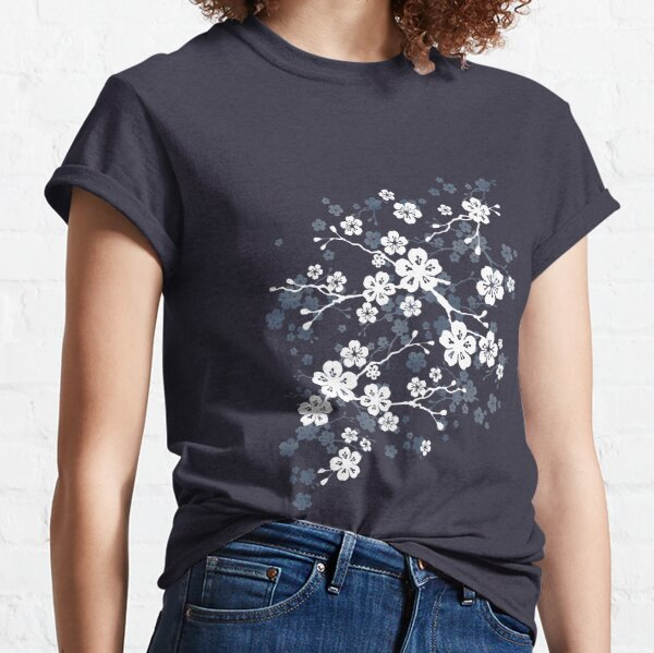 Navy and white cherry blossom pattern Classic T-Shirt