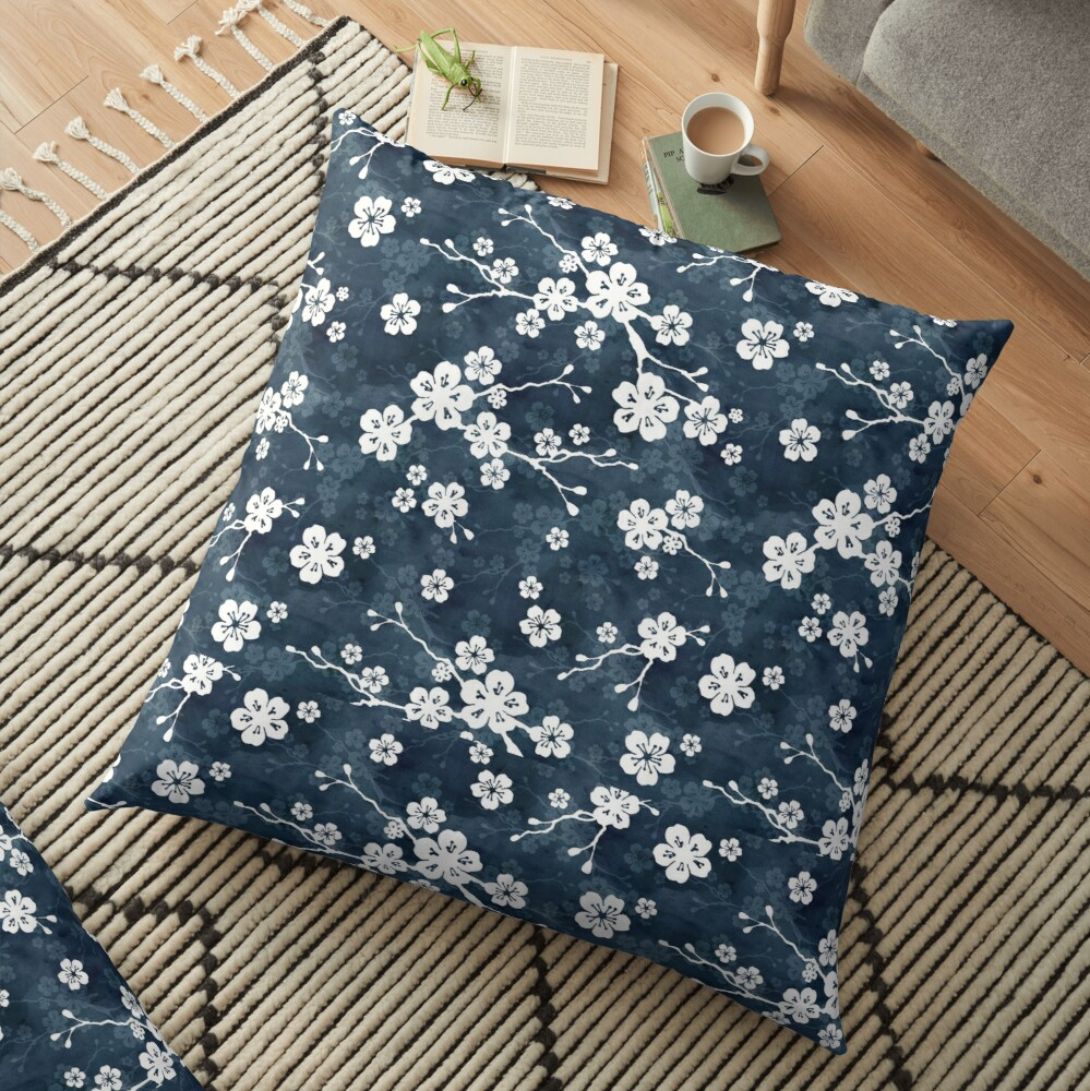 Navy and white cherry blossom pattern Floor Pillow
