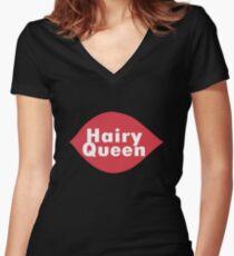 Hairy queen parody logo geek funny nerd Women's Fitted V-Neck T-Shirt
