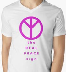 The Real Peace Sign (Magenta) Mens V-Neck T-Shirt