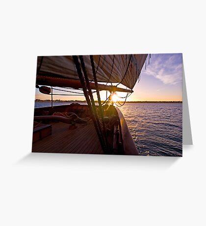 We set sail at sunset Greeting Card