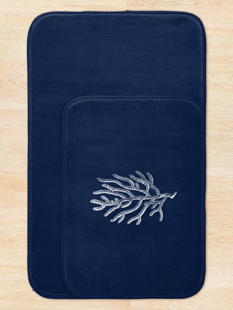 Alternate view of White Coral Illustration on Nautical Navy Blue - Tasteful Minimalist Beach House Design Bath Mat