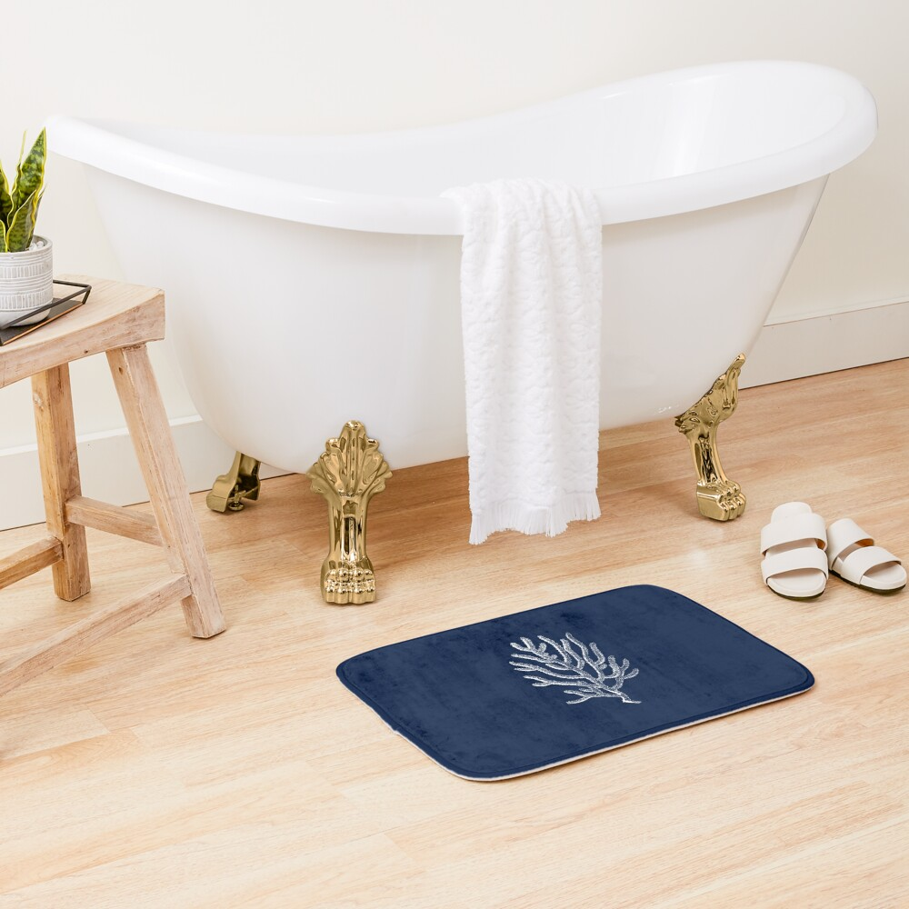 White Coral Illustration on Nautical Navy Blue - Tasteful Minimalist Beach House Design Bath Mat