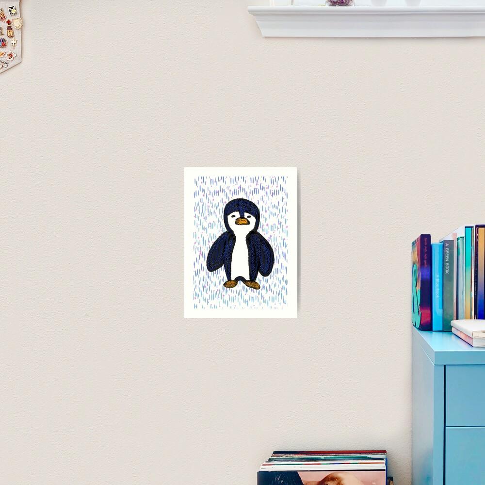 Batik Sad Penguin Art Print